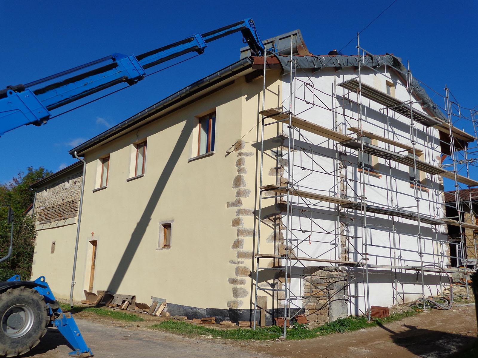 Toiture et façade réhabilitation grange Saone et Loire